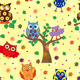 Colourful owl and tree seamless pattern over yellow