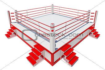 Boxing ring isolated on white background
