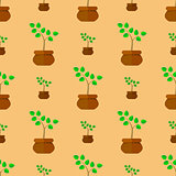 Flower Pot Seamless Pattern