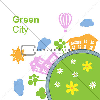 City around circle with building and road. Vector illustration isolated on white