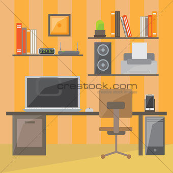 Modern office interior in flat design