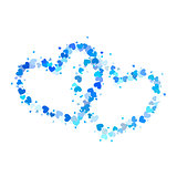Two blue outline hearts isolated on white