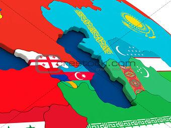 Caucasus region on globe with flags