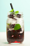 Infused water with fresh organic mulberry and mint