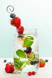 Detox fruit infused flavored water Fresh summer fruits on metal