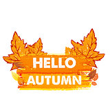hello autumn with leaves, drawn banner