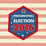 USA presidential election 2016 in hexagon frame banner