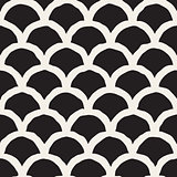 Vector Seamless Black And White Hand Drawn Rounded Lines Pattern