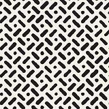 Vector Seamless Hand Drawn Diagonal Lines Circles Pattern