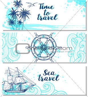 Blue horizontal marine banners