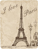 Vintage background with Eiffel Tower