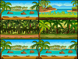 Jungle Game background Vector Set