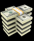 bundle of dollars on a black background 3D illustration