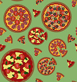 Pizza seamless pattern