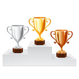 Gold Trophy Cup set. Vector