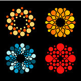 Vector isolated sun logo design template. Abstract dots symbol. Icon round shape. Colorful logos set.
