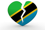 Broken white heart shape with Tanzania flag