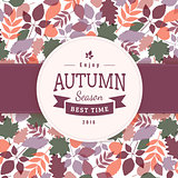 Colorful autumn leaves and text block.