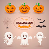 Ghosts pumpkins and bats.