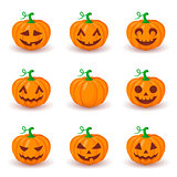 Cute pumpkin faces set.