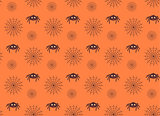 Spiders and web seamless pattern.