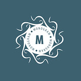 monogram vector in frame