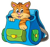 Cat in schoolbag theme image 1