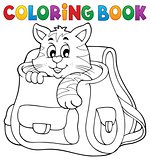 Coloring book cat in schoolbag