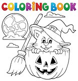 Coloring book Halloween cat theme 1