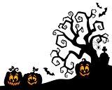 Halloween tree silhouette theme 2