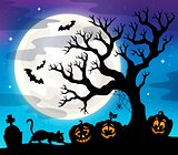 Halloween tree silhouette theme 4