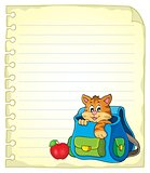 Notebook page with cat in schoolbag