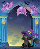 Wall alcove with Halloween cat and bats