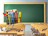 Shopping cart with book in the classroom, school desk and chalkb