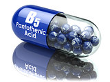 Vitamin B5 capsule. Pill with pantothenic acid. Dietary suppleme