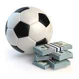 Soccer or football ball and packs of dollars isolated on white.