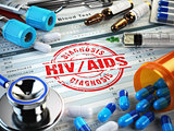HIV AIDS diagnosis. Stamp, stethoscope, syringe, blood test and