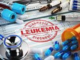 Leukemia diagnosis. Stamp, stethoscope, syringe, blood test and