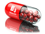 Vitamin B3 capsule. Pill with Niacin or nicotinic acid. Dietary