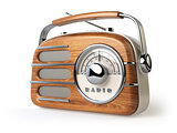 Vintage retro radio receiver isolated on white.