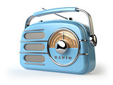Blue vintage retro radio receiver isolated on white.