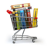 Shopping cart with books isolated on white. Textbooks. Back to s