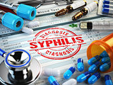 Syphilis diagnosis. Stamp, stethoscope, syringe, blood test and