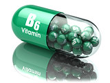 Vitamin B6 capsule or pill. Dietary supplements.