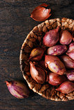 Shallot in a wicker basket