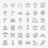 Hiking and Outdoor Line Icons Set