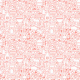 Line BBQ White Seamless Pattern