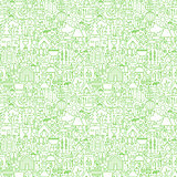 Line Camping White Seamless Pattern