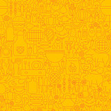 Line Yellow Barbecue Tile Pattern
