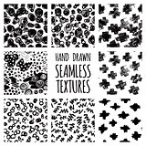 Set of seamless hand drawn irregular uneven black and white textures